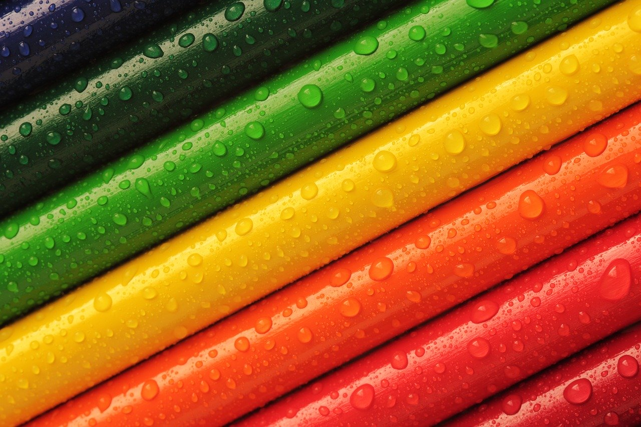 pencils, crayons, colourful