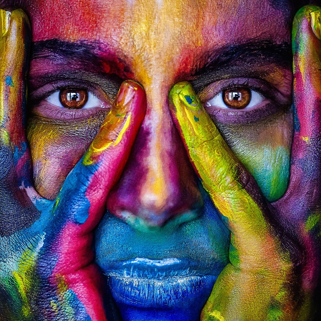 girl, face, colorful