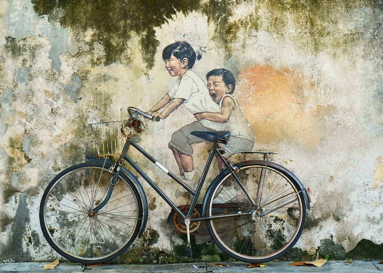 bicycle, children, graffiti